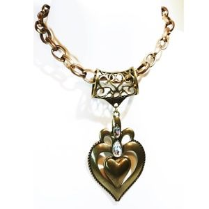Vintage Crystal Brass Heart Pendant Necklace